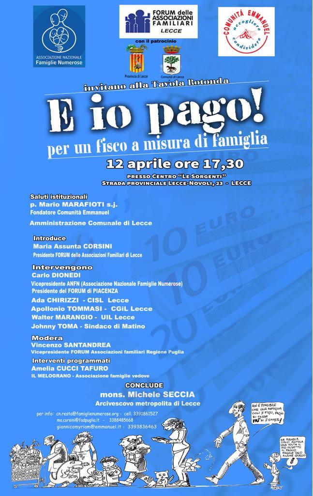 a459a1c0ae ... Forum delle Associazioni Familiari di Puglia. VERSO LA CONFERENZA  REGIONALE DELLA FAMIGLIA, A LECCE IL PRIMO TAVOLO MONOTEMATICO DEDICATO AL  FISCO